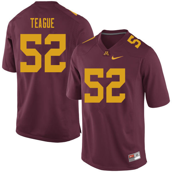 Men #52 Elijah Teague Minnesota Golden Gophers College Football Jerseys Sale-Maroon