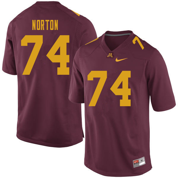 Men #74 Grant Norton Minnesota Golden Gophers College Football Jerseys Sale-Maroon