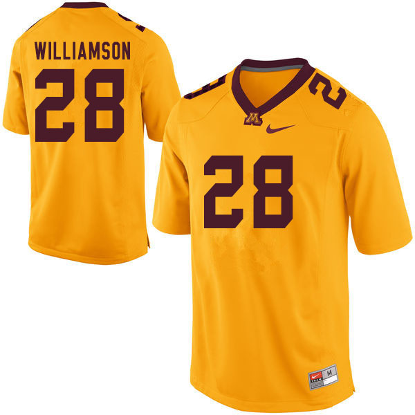 Men #28 Jason Williamson Minnesota Golden Gophers College Football Jerseys Sale-Yellow