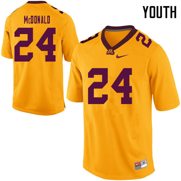Youth #24 Bishop McDonald Minnesota Golden Gophers College Football Jerseys Sale-Yellow