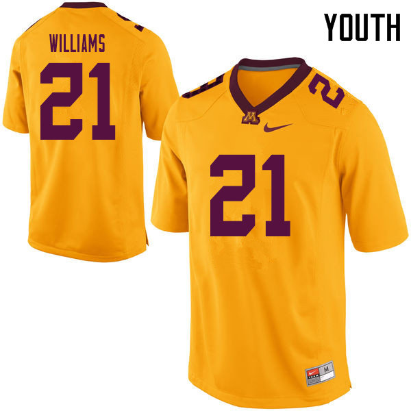 Youth #21 Bryce Williams Minnesota Golden Gophers College Football Jerseys Sale-Yellow