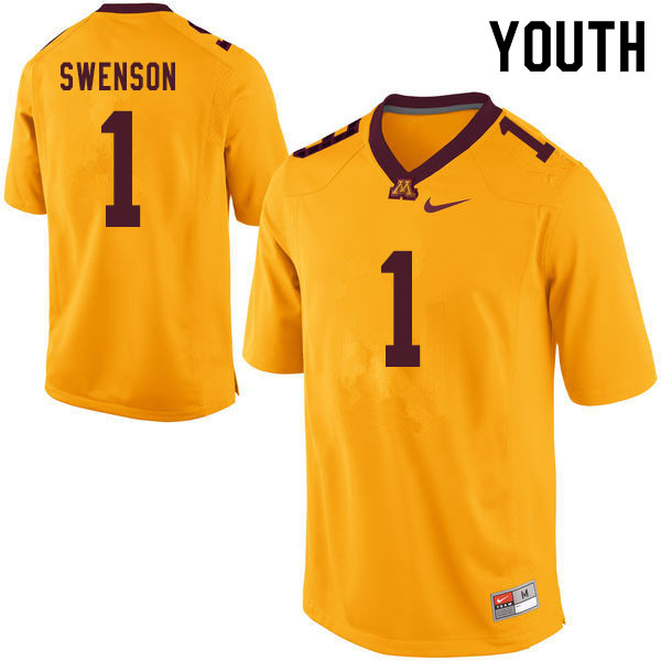 Youth #1 Calvin Swenson Minnesota Golden Gophers College Football Jerseys Sale-Yellow