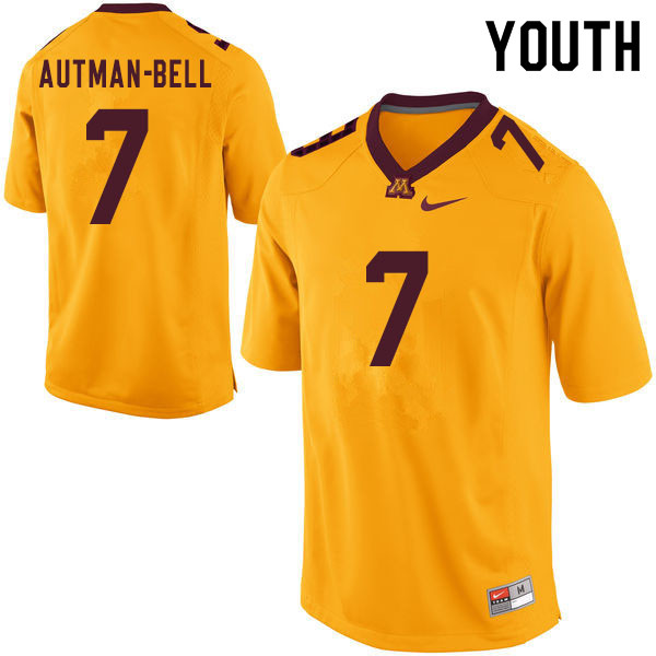 Youth #7 Chris Autman-Bell Minnesota Golden Gophers College Football Jerseys Sale-Yellow