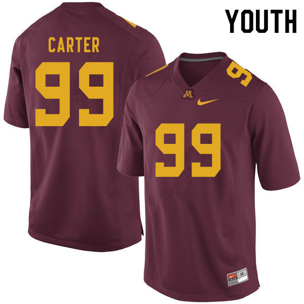 Youth #99 DeAngelo Carter Minnesota Golden Gophers College Football Jerseys Sale-Maroon