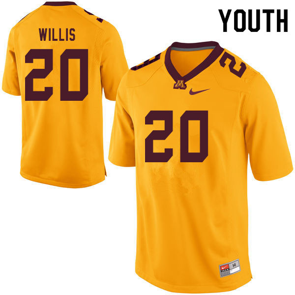Youth #20 Donald Willis Minnesota Golden Gophers College Football Jerseys Sale-Yellow