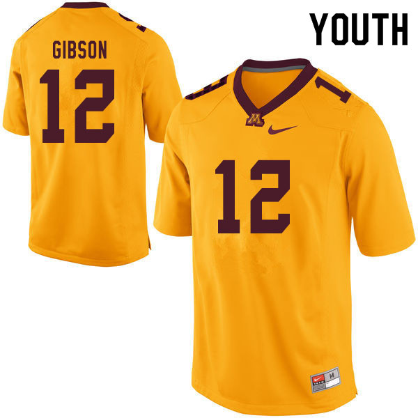 Youth #12 Erik Gibson Minnesota Golden Gophers College Football Jerseys Sale-Yellow