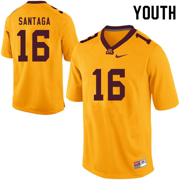 Youth #16 Johnny Santaga Minnesota Golden Gophers College Football Jerseys Sale-Yellow
