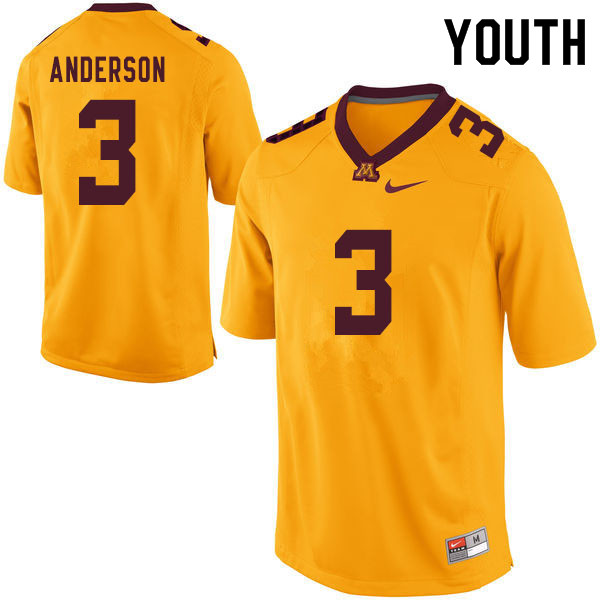 Youth #3 MJ Anderson Minnesota Golden Gophers College Football Jerseys Sale-Yellow