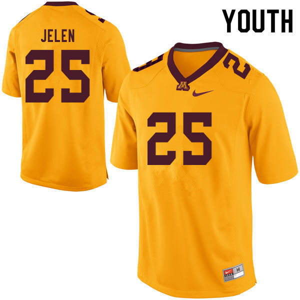 Youth #25 Preston Jelen Minnesota Golden Gophers College Football Jerseys Sale-Yellow