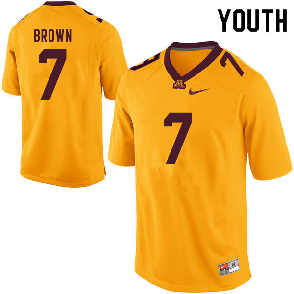 Youth #7 Solomon Brown Minnesota Golden Gophers College Football Jerseys Sale-Yellow