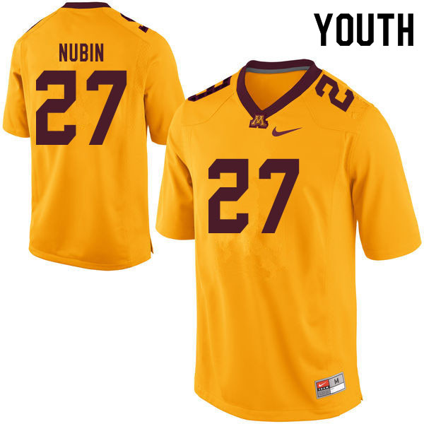 Youth #27 Tyler Nubin Minnesota Golden Gophers College Football Jerseys Sale-Yellow