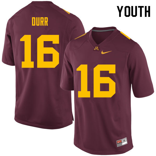 Youth #16 Coney Durr Minnesota Golden Gophers College Football Jerseys Sale-Maroon