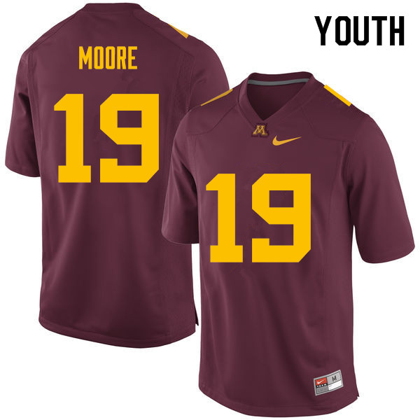 Youth #19 Gary Moore Minnesota Golden Gophers College Football Jerseys Sale-Maroon