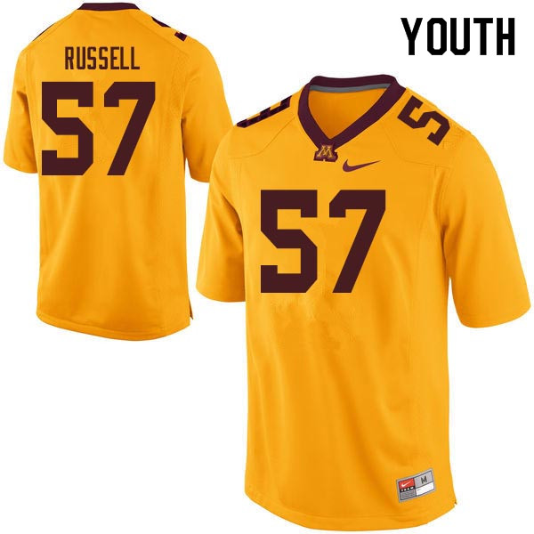 Youth #57 Joe Russell Minnesota Golden Gophers College Football Jerseys Sale-Gold