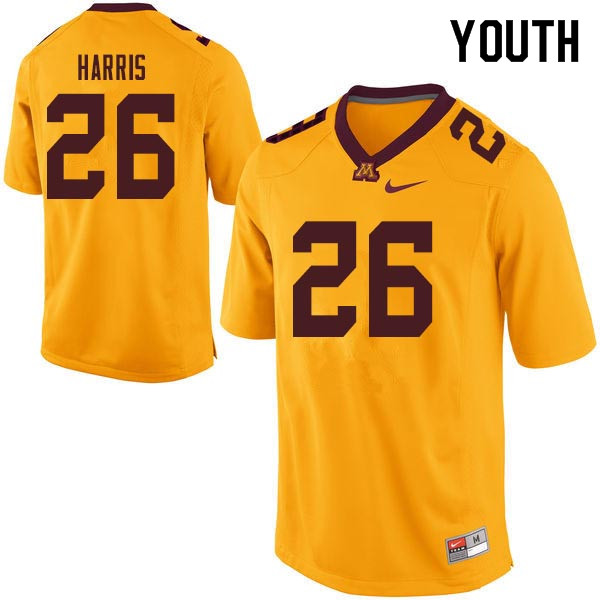 Youth #26 Justus Harris Minnesota Golden Gophers College Football Jerseys Sale-Gold