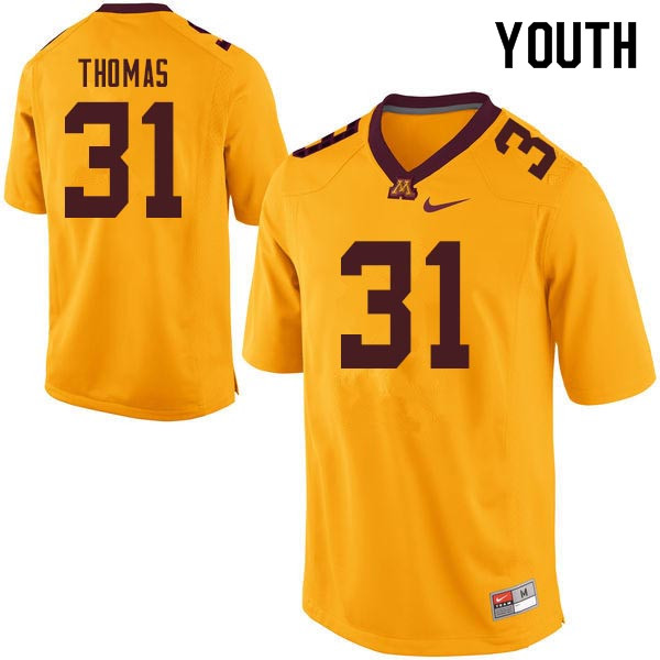 Youth #31 Kiondre Thomas Minnesota Golden Gophers College Football Jerseys Sale-Gold