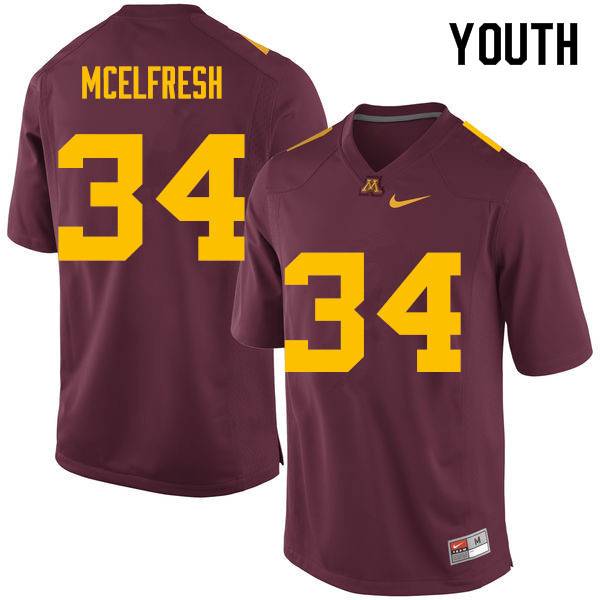 Youth #34 Logan McElfresh Minnesota Golden Gophers College Football Jerseys Sale-Maroon