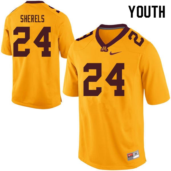 Youth #24 Marcus Sherels Minnesota Golden Gophers College Football Jerseys Sale-Gold