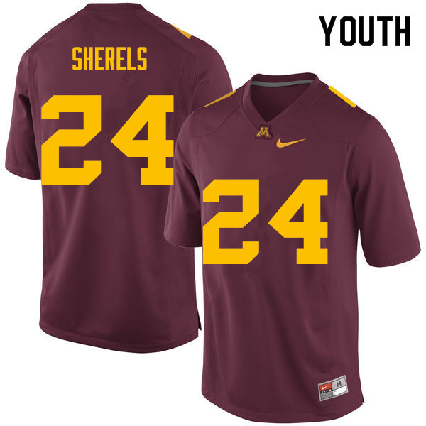Youth #24 Marcus Sherels Minnesota Golden Gophers College Football Jerseys Sale-Maroon