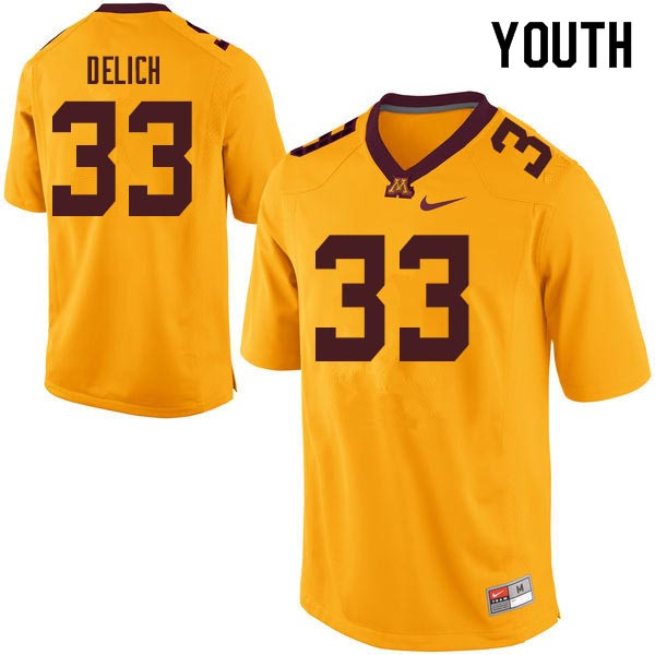 Youth #33 Mike Delich Minnesota Golden Gophers College Football Jerseys Sale-Gold
