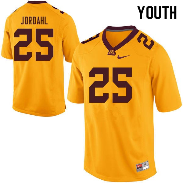 Youth #25 Payton Jordahl Minnesota Golden Gophers College Football Jerseys Sale-Gold