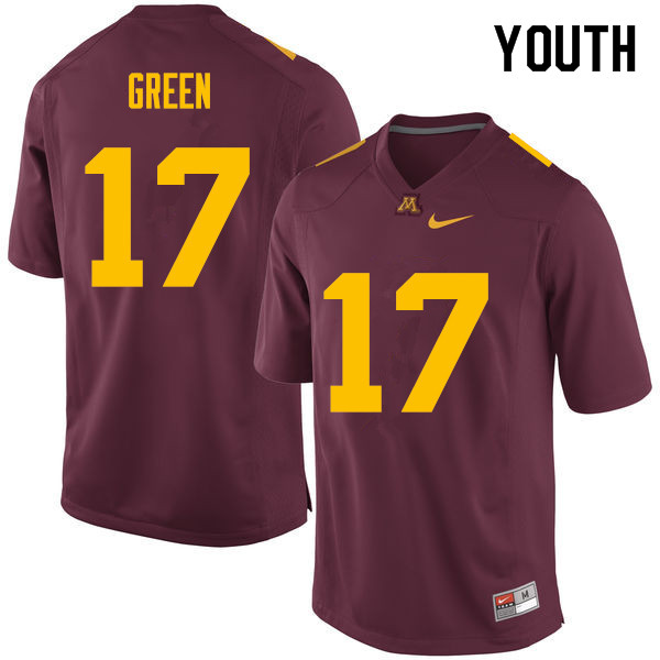 Youth #17 Seth Green Minnesota Golden Gophers College Football Jerseys Sale-Maroon