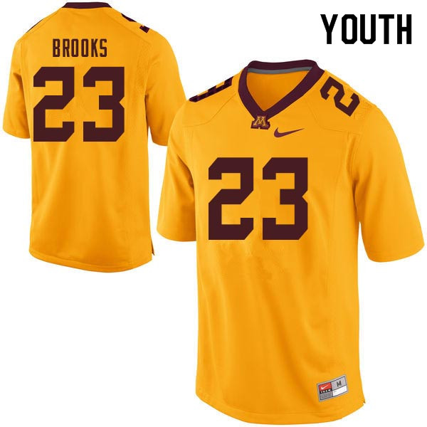 Youth #23 Shannon Brooks Minnesota Golden Gophers College Football Jerseys Sale-Gold